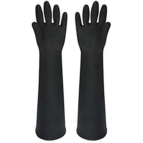 Buwico® 60CM Schwarzer langer Gummi wasserdichte Reinigung Waschhandschuhe Verlängerte Latex Industriesäure tragen dicke Arbeitshandschuhe (1 Paar)