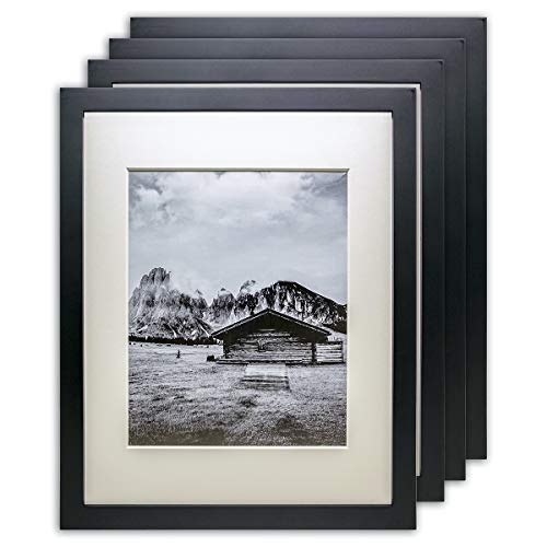 TheDisplayGuys 4-Pack Pine Wood Picture Frames with 0.08' 6-Ply Mat & Tempered Glass (16x20 matted to 11x14) Black