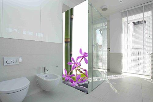 Vinilo para Mamparas baños Bambú Flores  Varias Medidas 60x185cm   Adhesivo Resistente y de Facil Aplicación   Pegatina Adhesiva Decorativa de Diseño Elegante 
