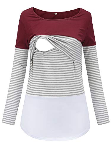 Love2Mi Damen Stillshirt Langarm Schwanger T-Shirt Umstandsshirt Nursing Tops Schwangerschafts Umstandsmode,Wienrot,L