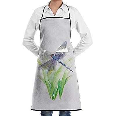 QSMX Professional Chef Apron,Gray Dragonfly Painting Waiter Apron, Heavy Duty Kitchen Apron, Money Apron - Cooking Kitchen Aprons for Women Men