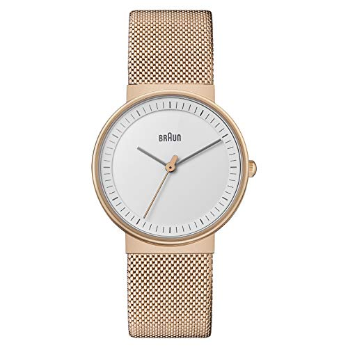 Braun Reloj Analógico para Mujer de Cuarzo con Correa en Acero Inoxidable BN0031RGMHL