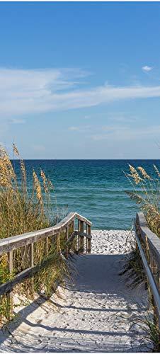 wandmotiv24 Türtapete Weg zum Meer, Sand-Strand, Ozean, Gräser 100 x 200cm (B x H) - Dekorfolie selbstklebend Sticker für Türen, Tür-Bilder, Aufkleber, Deko Wohnung modern M1079