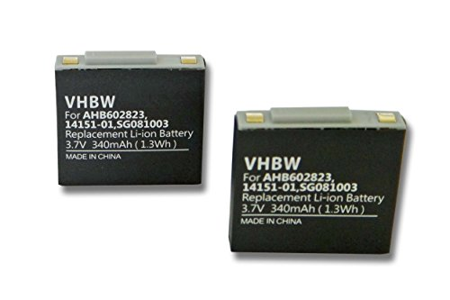 vhbw 2X Akku passend für GN Netcom Jabra 9120, 9125, GN9120, GN9120 Flex Wireless Headset Kopfhörer (340mAh, 3.7V, Li-Polymer)