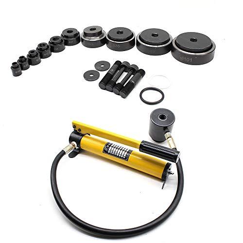 15T Bomba hidráulica para cilindro perforación orificio hidráulico + Estuche, Golpe de sacador hidráulico 10 herramientas de orificio de conducto