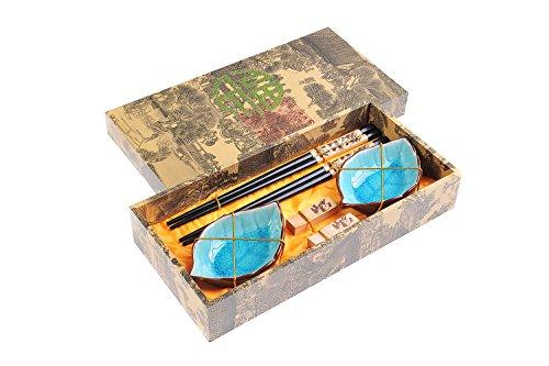 Quantum Abacus Set di Bacchette con Ciotole in Ceramica Panda in Confezione Decorativa, 2 Bacchette cesellate in Legno, 2 poggiabacchette, 2 Ciotole in Ceramica, CBS-S2-G-H01