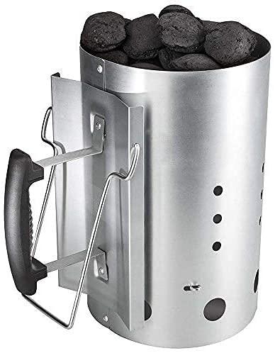 Totò Piccinni Ciminiera d'accensione Accendi Fuoco Veloce per Carbonella Barbecue, Argento, XL