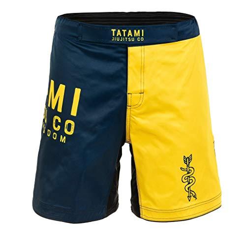 Tatami Fightwear Grappling Fight Shorts Supply Co Navy - MMA Fitness Jiu Jitsu - Pantalones cortos de artes marciales para hombre, Hombre, supco-shorts, azul marino y amarillo., extra-large