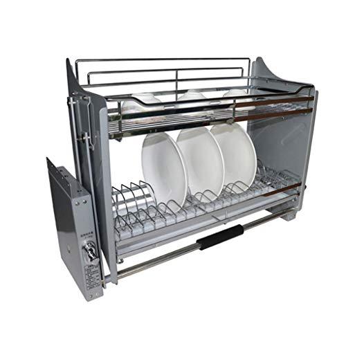 Panier à Vaisselle Double Couche En Acier Inoxydable, Paniers éLéVateurs Avec éGouttoir Pour Armoires De Cuisine,86x27x54cm