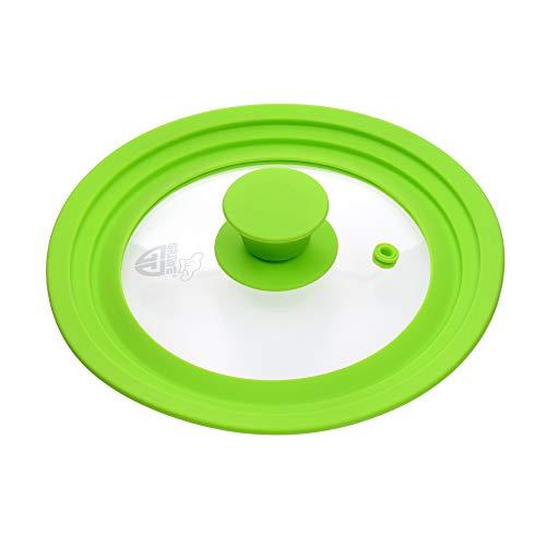 GRÄWE Universal-Glasdeckel Grün 16-20 cm, für Kochtöpfe und Pfannen, gehärtetes Glas, Silikongriff, mit Dampfaustritt
