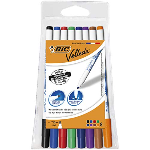 Bic Velleda 1721 Ecolutions Whiteboard Pens, Assorted Colors, Pouch of 8...
