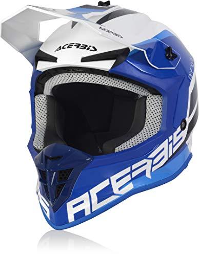 Acerbis Linear Casco Motocross Bianco/Blu M (57/58)