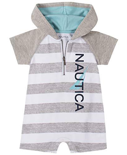 Nautica Sets (KHQ) Baby Boys' Romper, Gray/White, 3-6 Months