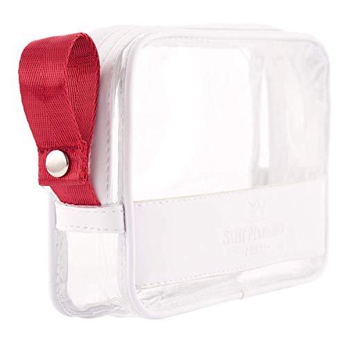 Saint Maniero Kulturbeutel transparent I Handgepäck Flüssigkeiten I 1 Liter Beutel Flugzeug Kulturtasche durchsichtig Transparente Tasche I Kulturbeutel durchsichtig Waschbeutel durchsichtig (Weiß)
