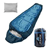 HiHiker Mummy Bag + Travel Pillow w/Compact Compression Sack – 4 Season Sleeping Bag for Adults & Kids – Lightweight Warm and Washable, for Hiking Traveling & Outdoor Activities (Blue)
