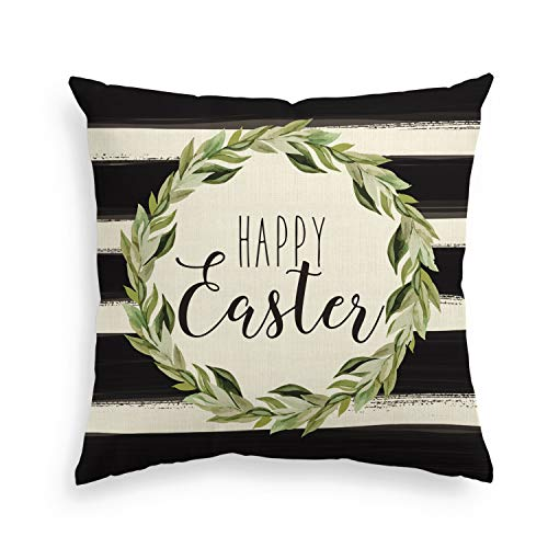 AVOIN Happy Easter Laurel Wreath Pillow Cover, 18 x 18 Inch Watercolor Stripes Cushion Case Decoration for Sofa Couch
