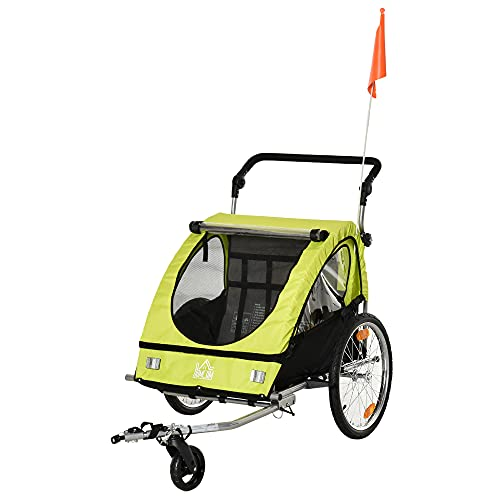HOMCOM 2 in 1 Kinderanhänger Fahrradanhänger Kinderwagen mit Aufbewahrungstasche zweilagige Stahlrohrverschachtelung Metall Oxford Grün+Schwarz 160 x 84 x 106 cm