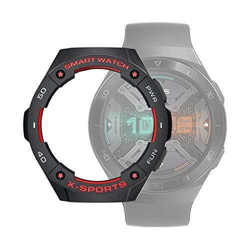 WATCHCASE/para Huawei Watch GT2E Smart Watch TPU Funda Protectora, Color: Negro + Gris Rojo, La decoración de la Moda Protege el Marco del re