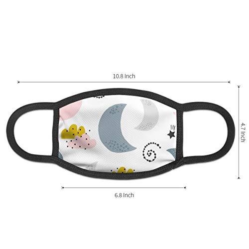 Yutess Nahtlose Kinder-Maske mit Mond-Wolken-Staubmaske, mit elastischer Ohrschlaufe, Schwarz für Männer und Frauen