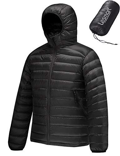 Lesmart Men's Packable Hooded Puffer Jacket Lightweight Water Resistant Down Jacket Insulation Winter Warm Coat Size XL Black