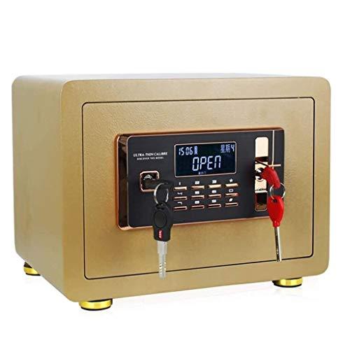 ZBM-ZBM sleutelkastje, wachtwoord en sleutel worden ingeschakeld op dezelfde tijd kleine 25 cm draagbare antidiefstal kluizen met Dual Intelligent alarmsysteem thuis brandwerende Coffer sleuteldoos Goud