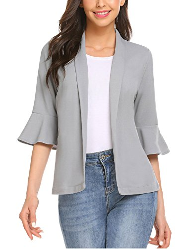 KANCY KOLE Women Casual Work Office Blazer Jacket Button Boyfriend Blazers Business Suits (Black, XL)