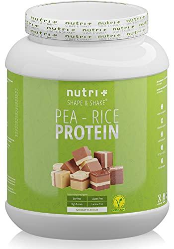 Plant Protein Powder Soy free - Pea Rice Nougat 1kg - wegańskie białko bez soi, glutenu & laktozy - roślinne proteiny - wyprodukowano w Niemczech