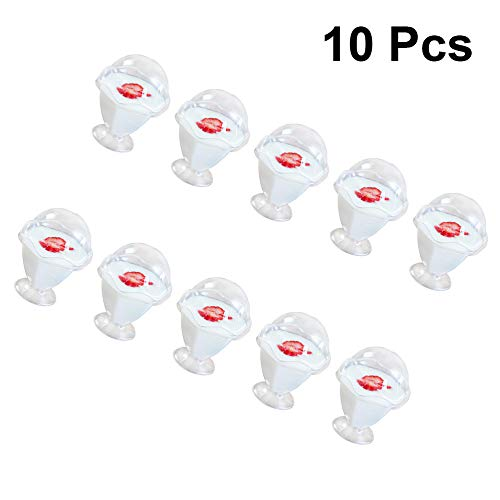 HUANGSAN Vasos Desechables, Vasos de pudín de gelatina Transparente, recipientes para postres de Mousse, Vasos de Vino de plástico sin cucharas y Tapas 10 Piezas 140 ml