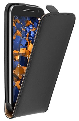 mumbi Tasche Flip Hülle kompatibel mit Lenovo Moto G4 / G4 Plus Hülle Handytasche Hülle Wallet, schwarz