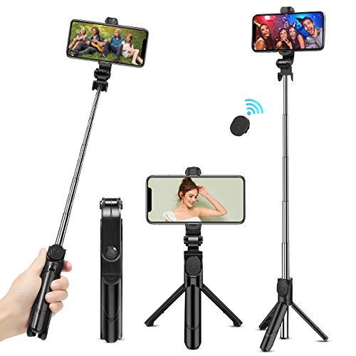 Palo Selfie Trípode, Bluetooth Tripode para movil Extensible con Control Remoto para iPhone/Android, Soporte para Videos, Vlogs, Directos, Facetime