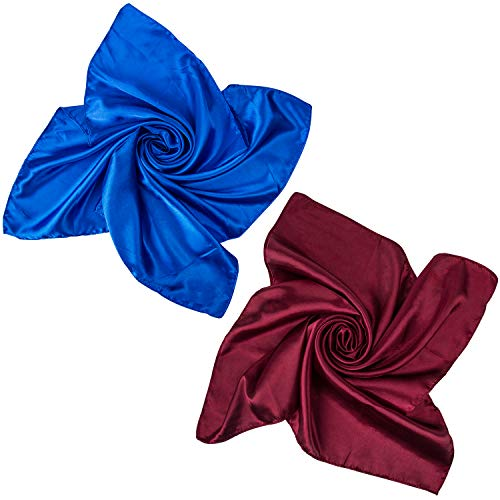 2 PCS Women's Large Satin Square Silk Feeling Hair Scarf 35 x 35 inches (C-sapphire and Burgundy Scarf)