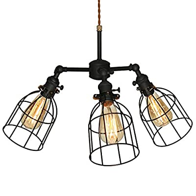 XIDING Industrial Antique Kitchen Island 3-Lights Metal Wire Cage Pendant Chandelier Lighting Fixtures?Vintage Black Farmhouse Hanging Light 3 Sockets with Black Metal Cages