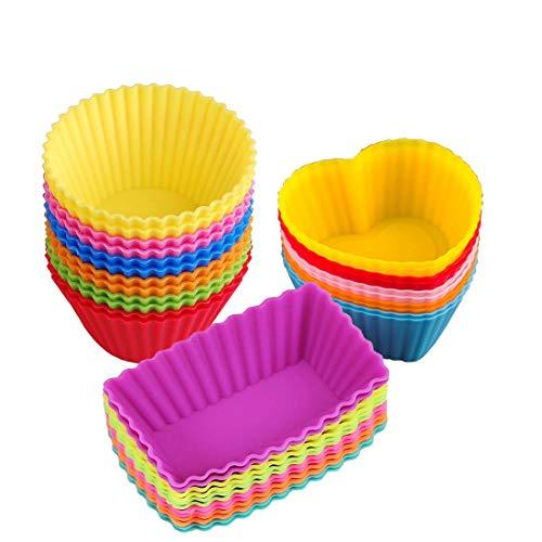 Silikonform für Muffins und Cupcakes Formen(28er Packung)Wiederverwendbare Anti-haft-Formen im Set