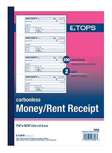 TOPS 46806 - Libro de recibos de alquiler/dinero, 2 piezas, sin carbón, 11 x 7-5/8 pulgadas, 4 recibos/página, 200 juegos por libro