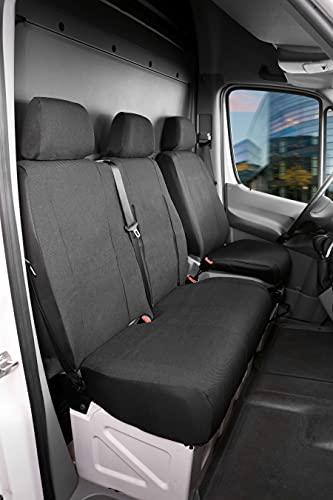 Walser 10476 Autoschonbezug Transporter Passform, Stoff Sitzbezug anthrazit kompatibel mit Mercedes Sprinter, VW LT, Einzel- & Doppelbank