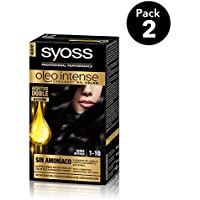 SYOSS - Oleo Intense Coloración Permanente Sin Amoníaco  - Tono 1-10 Negro Intenso - 2 uds