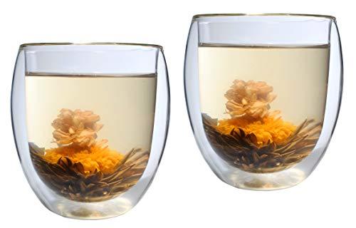 Feelino XL 2X 320ml doppelwandiges Thermo-Glas Ice-Bloom inkl. 2X Teeblume, extra großes Teeglas/Kaffeeglas mit Schwebeeffekt - auch als tolles Geschenk
