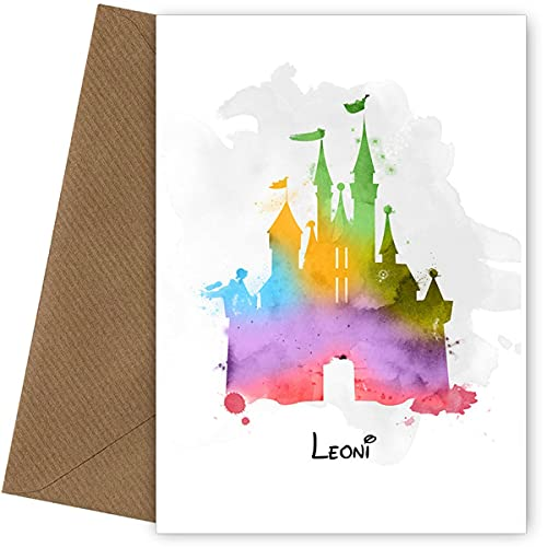 PERSONALISED Cinderella Castle Birthday Card (Watercolour Style) for mum,...