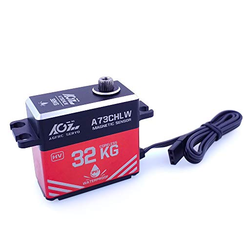 AGFrc 32KG IP67 Waterproof Servo High Torque Magnetic Sensor Coreless Servo Full Metal Case for 1/10 RC RC Car Boat Crawler, Control Angle 180° (A73CHLW)