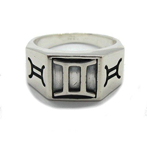 Anello da uomo in argento massiccio 925 Segno zodiacale Gemelli R001807