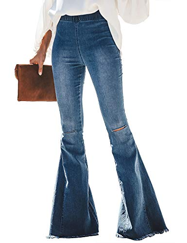luvamia Women's Destoryed Flare Bell Bottom Jeans Pants Elastic Waist Jean Denim Pants Blue Elastic Waist Jeans Pants Size L