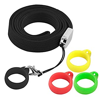 Anti-Loss Lanyard Necklace with 3PCS Rings Compatible for J-uul or Similar Sized System Pens Pendant Holder Silicon Rubber Carrying Case for Daily Life Office Outdoor-Device Not Included  Black