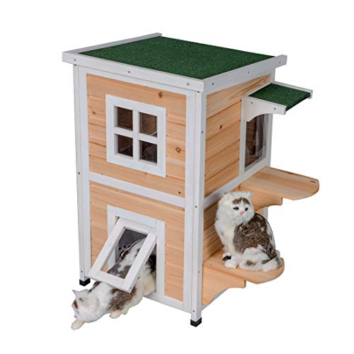 Good Life Weatherproof Outdoor Indoor Two Floors Nature Wood Cat House Pet Home Furniture Cat Shelter Small Pet Condo With Stairs For Small Middle Cats Buy Online In Sweden At Sweden Desertcart Com