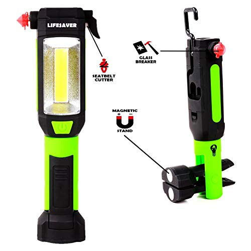 【2020 New Version】 Lifesaver Emergency Car LED Flashlight - Car Safety Hammer, Emergency Escape Tool with Car Window Breaker and Seat Belt Cutter, Life Saving Survival Kit (Batteries Included)