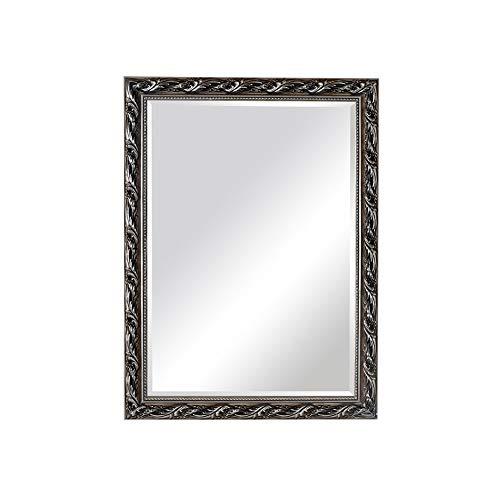 Wandspiegel Europese stijl spiegel massief hout decoratieve spiegel zilveren badkamerspiegel wastafel cosmeticaspiegel 75 * 100cm zilver en zwart.
