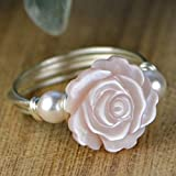 Pink Mother of Pearl Rose Flower and Any Two Crystal Birthstones Ring- Sterling Silver, Yellow or Rose Gold Filled Wire Wrapped Ring- Made to size 4-14