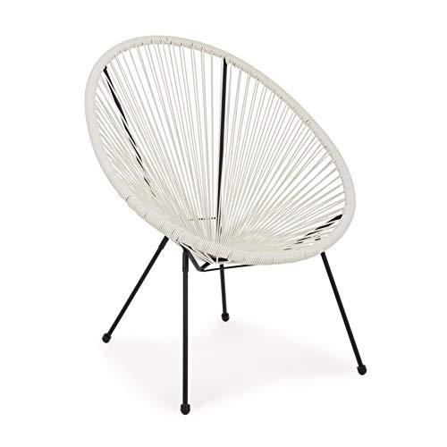 ARREDinITALY Lot de 4 fauteuils d'extérieur en métal Noir et Cordes en Fibre synthétique Blanc