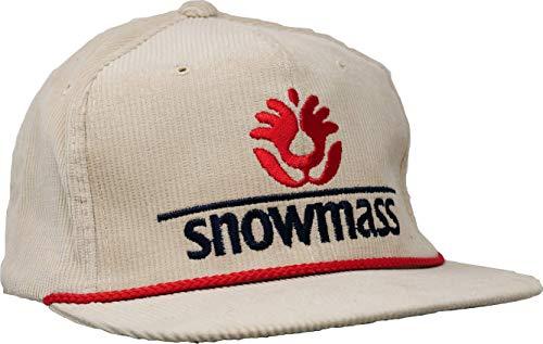 Snowmass Ski Corduroy Snapback Hat - Khaki - 100% Authentic Vintage Dead Stock