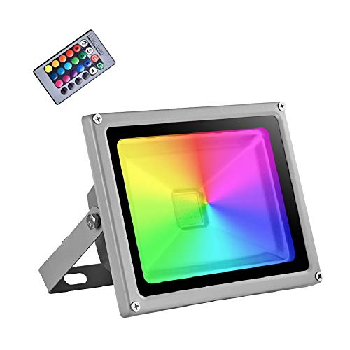 20W Foco LED RGB Proyector Exterior, IP65 Impermeable 16 Colores 4 Modos...
