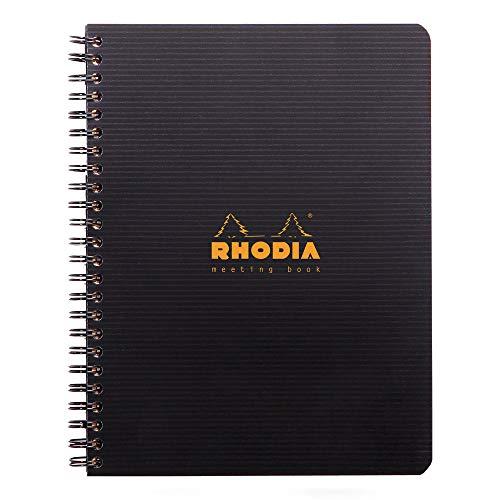 Rhodia 119941C Meetingbook Notizbuch (mit Doppelspiralbindung, 5 Register, bedruckt, liniert, repositionierbar, DIN A5, 14,8 x 21 cm, 90 g, 80 Blatt) 1 Stück schwarz